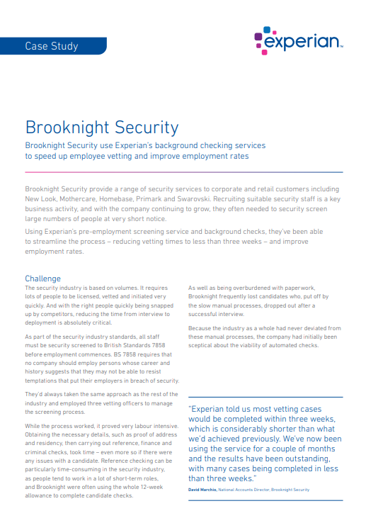 Experian Background Checking >> Case Study Brooknight Security Latest Thinking Blog